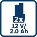 2 x 2,0 Ah kapacitet baterije Bosch GBA 12V 2,0 Ah