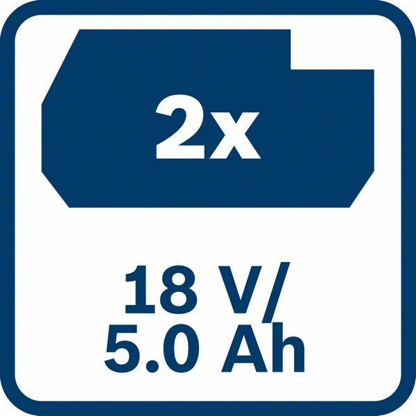2 x 5,0 Ah baterija Bosch GBA 18V 5,0 Ah