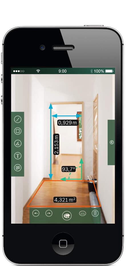 Jednostavan interfejs aplikacije jasno prikazuje celu paletu alata za merenje i već izmerene dužine.