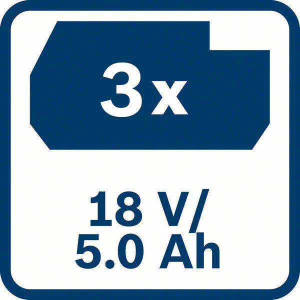 3 x 5,0 Ah baterija Bosch GBA 18V 5,0 Ah