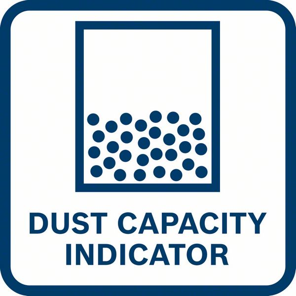 Bosch GDE 18V-16 indikator napunjenosti posude za prašinu