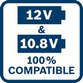 Bosch GSR 12V-30 je kompatibilna i sa 12V i sa 10,8V Bosch akumulatorima