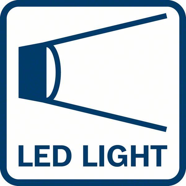 GSR 180-Li poseduje LED lampu svetlo